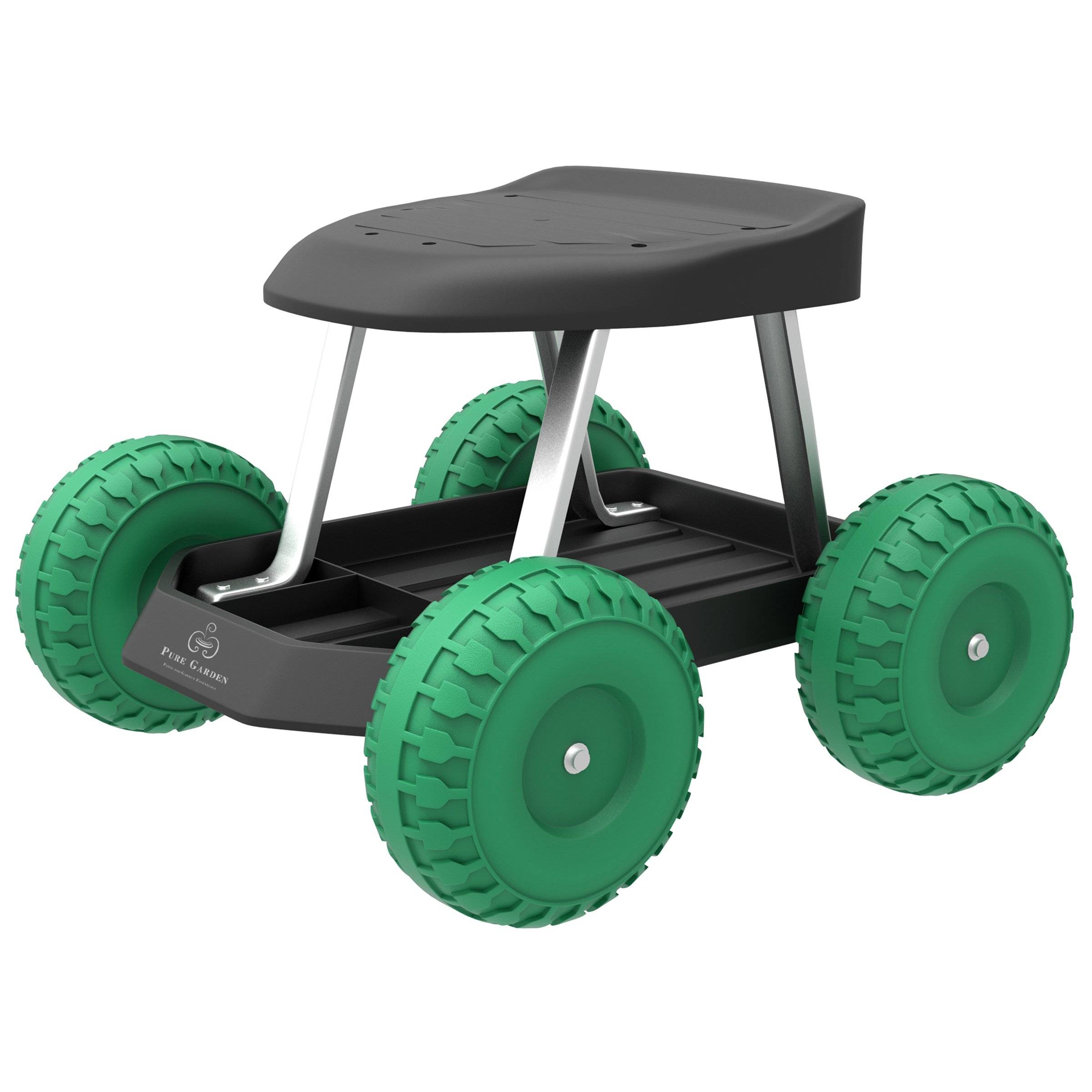 Pure Garden Garden Cart Rolling Scooter with Seat and Tool Tray for Weeding, Gardening, and Outdoor Lawn Care- for Adults and Kids by Pure Garden