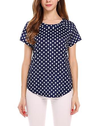 d8beaa605ed Zeagoo Women s Casual Round Neck Short Sleeve Polka Dot Tops (Navy Blue ...