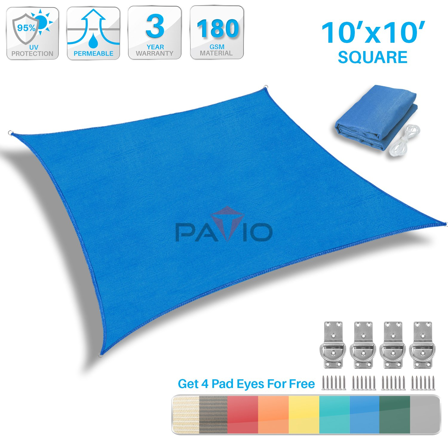 Patio Paradise 10' x 10' Blue Sun Shade Sail Square Canopy - Permeable UV Block Fabric Durable Patio Outdoor - Customized Available