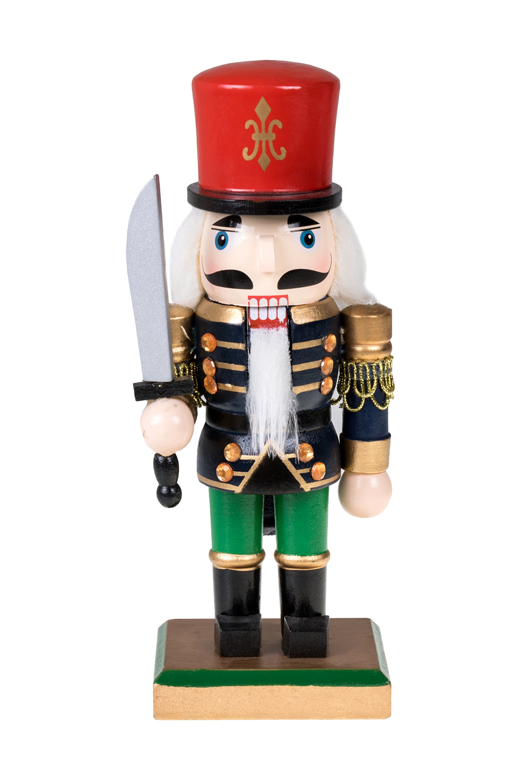 Traditional Soldier Chubby Nutcracker with Sword and Red Hat by Clever Creations | Festive Christmas Decor | 8'' Tall Perfect for Shelves and Tables | Collectible Wooden Nutcracker