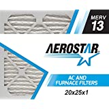 Aerostar Pleated Air Filter, MERV 13, 20x25x1, Pack of 6, Made in the USA