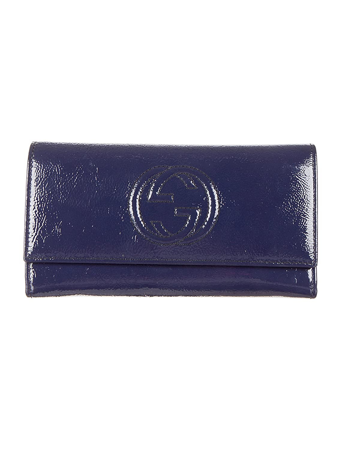 4f5d8f3755e snap closure embossed interlocking G twelve card slots and three bill  compartments two separate interior compartments closed  7.5 x 4 x 1 inches