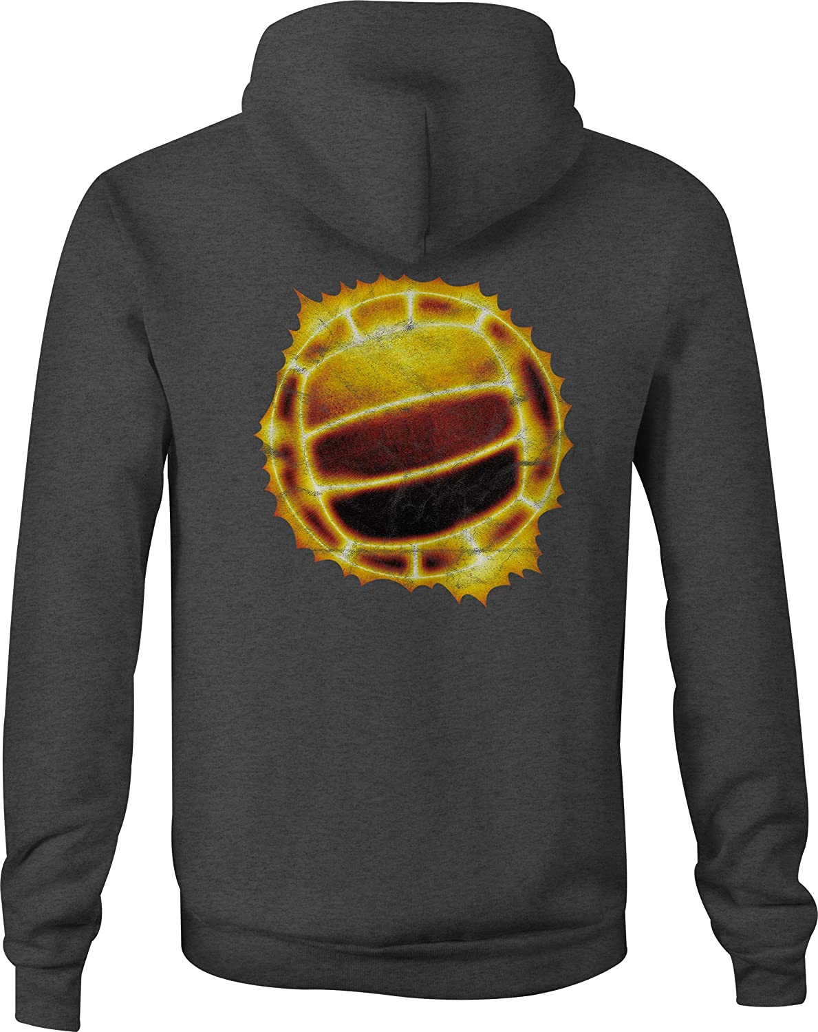 Motorcycle Zip Up Hoodie Glowing Volleyball Orange and Reds