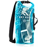 New Acrodo Waterproof Dry Bag - Transparent 10 & 20 Liter Floating Sack for Boating, Camping, Kayaking, Swimming, and Watersports With Shoulder Strap - Keeps Personal Belongings Protected
