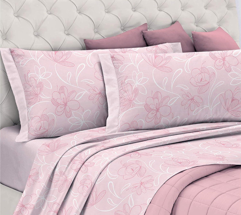 Gemitex - Juego de sábanas de Franela 100% algodón, para Cama de Matrimonio, línea Enjoy, diseño G10, Variante 03 Rosa, con Tratamiento antiparpadeo: Amazon.es: Hogar