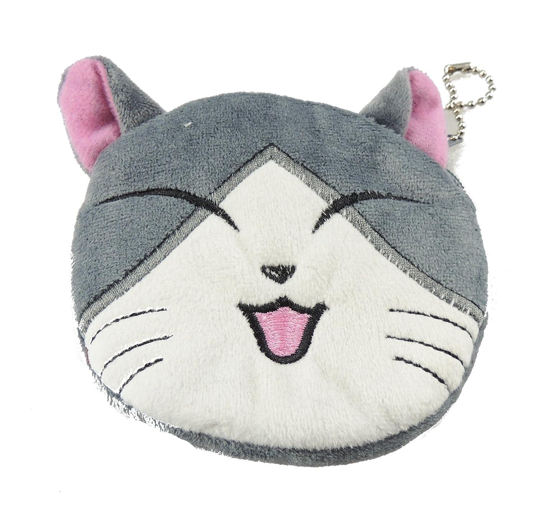 Adorable Soft Feel Plush Round Kitty Cat Kitten Face Coin Purse Wallet Key Chain Gift Idea For Girls (Bi Colour Black White)