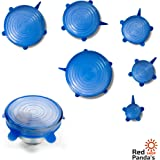Silicone Stretch Lids 6 Pack FDA \ Universal Silicone Lid \ Silicone Cover for Food \ Kitchen Silicone Storage Covers \ Durable Reusable \ Fresh Food Saver for Cups, Bowls, Plates, Containers \ Blue