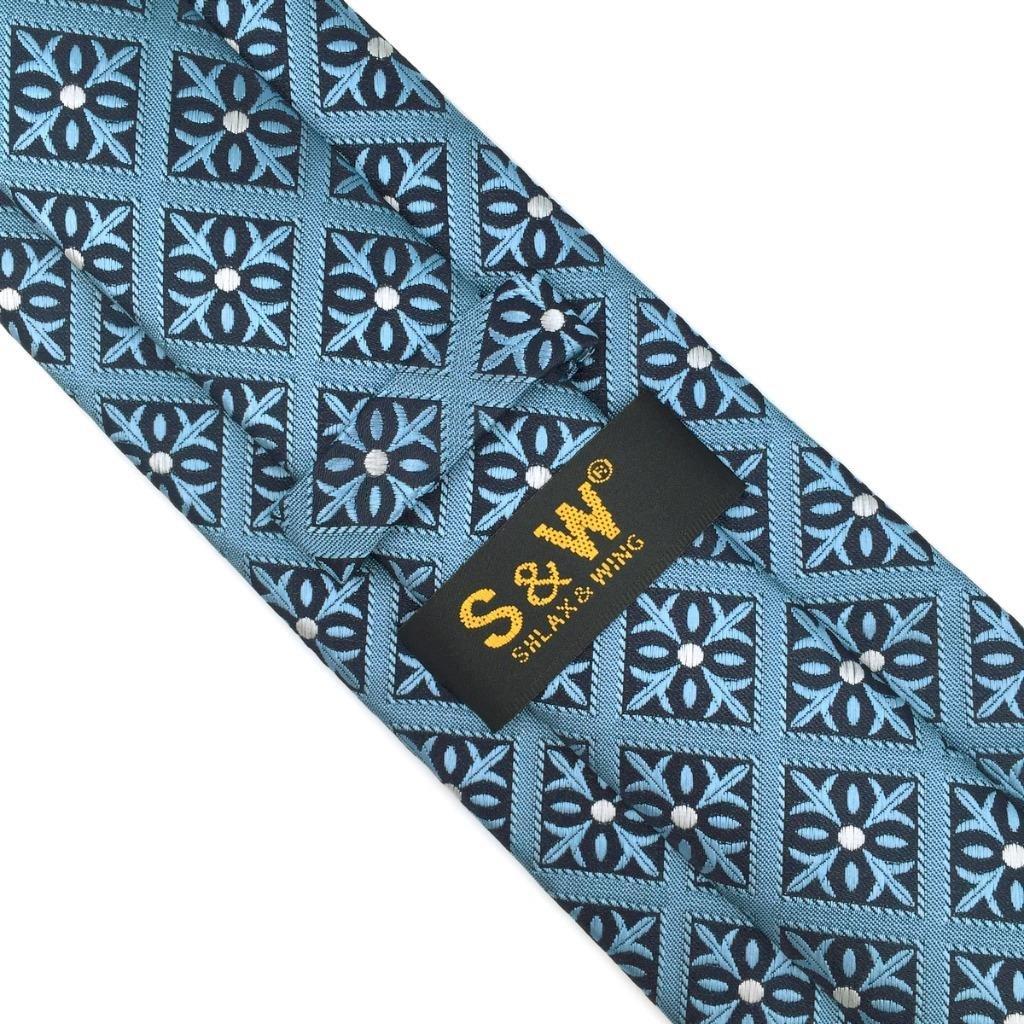 S/&W SHLAX/&WING Punkte Herren Krawatte Blau Set Neu Entwurf with Einsteckt/ücher
