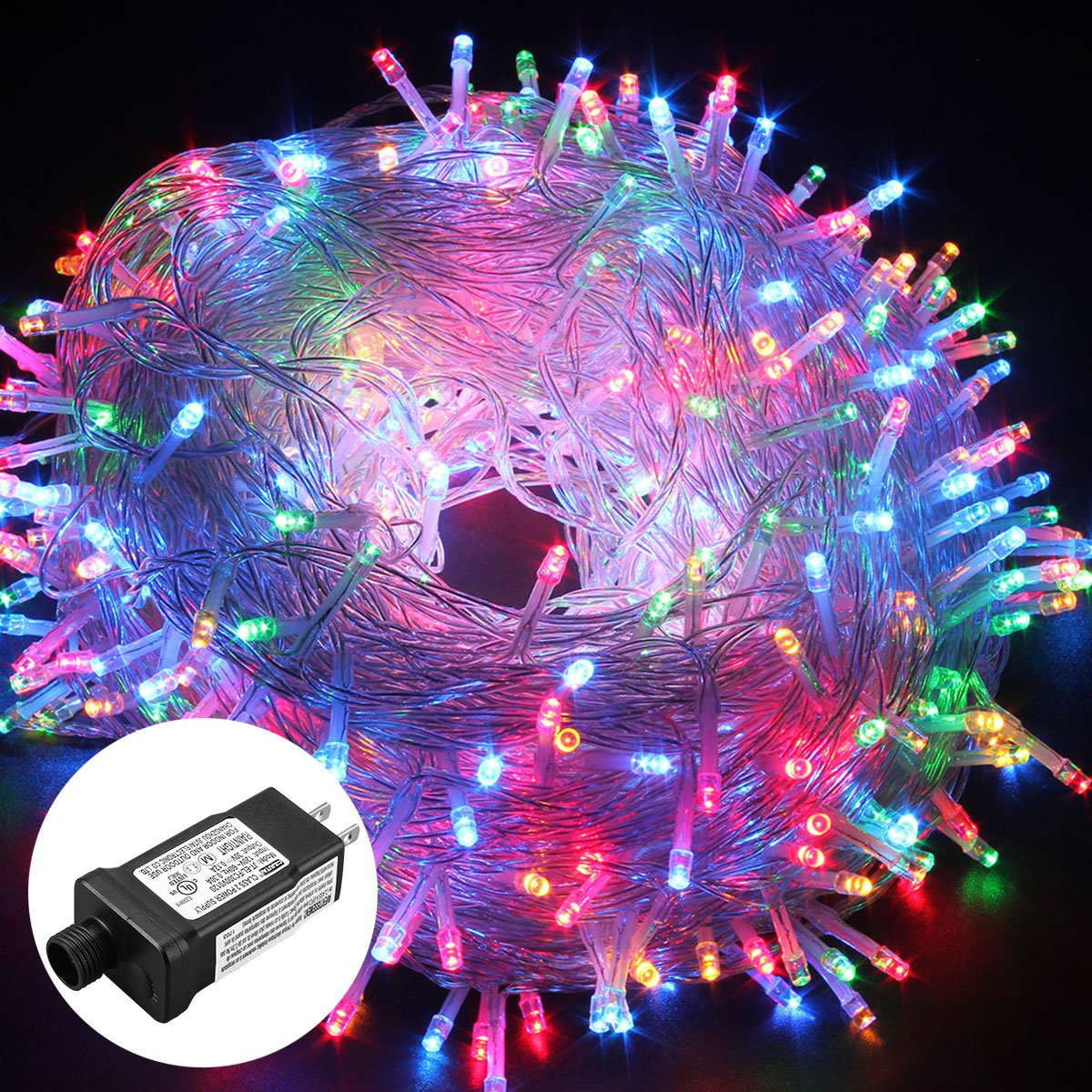 Excelvan Safe Low Voltage 8 Modes 500 LEDs 100M/328FT Dimmable Fairy String Lights with Transparent String for Bedroom Patio Garden Gate Yard Party Wedding Christmas Decoration, Multi Color