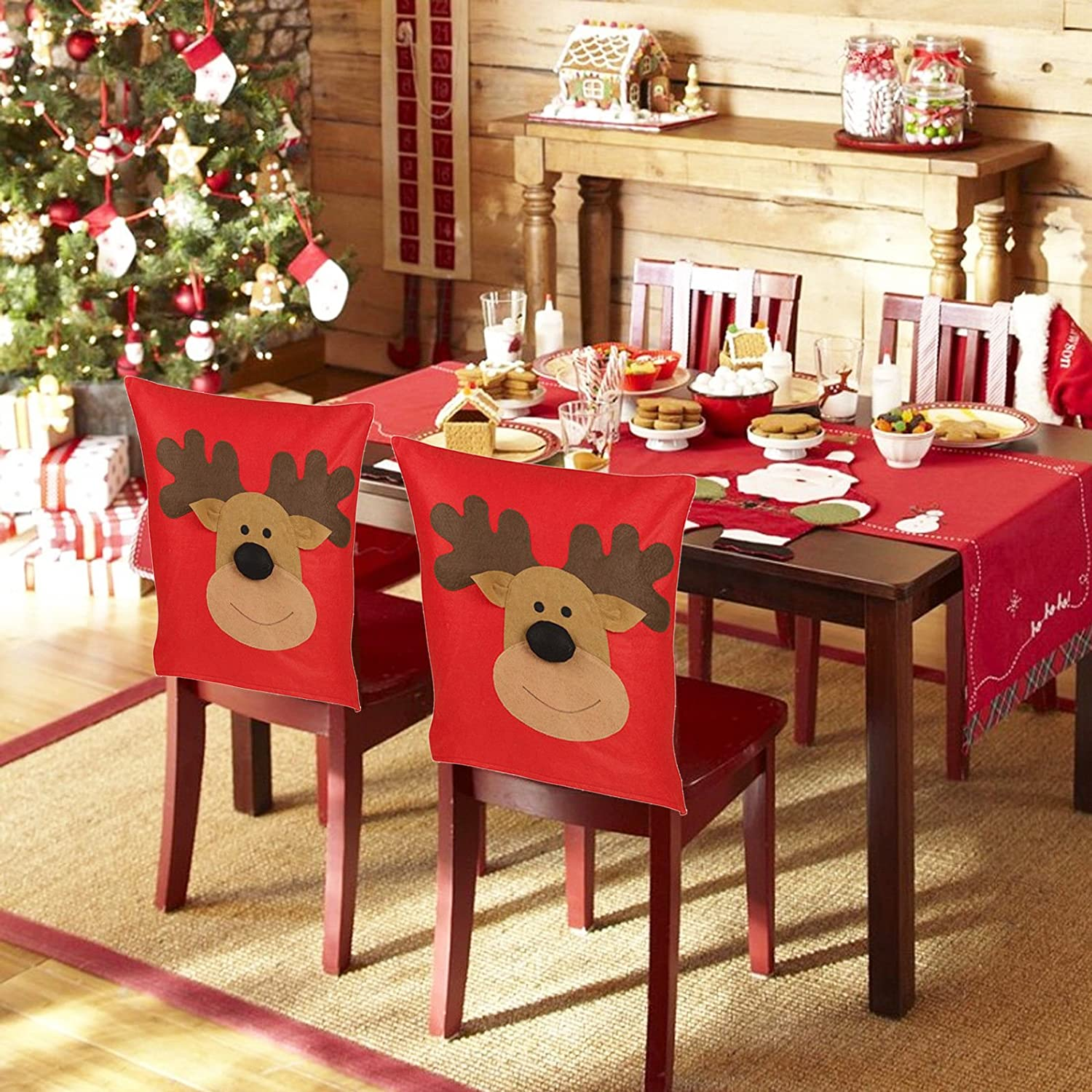 4x Reindeer Christmas Chair Cover EASYGIFT