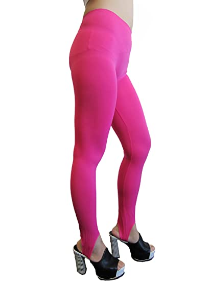 f66744074ca30c Ladies one size leggings with foot strap (Fab-9306) (Fuchsia) at Amazon  Women's Clothing store:
