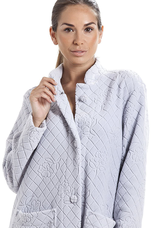 Camille Light Gray Soft Fleece Floral Full Length Button Up ...