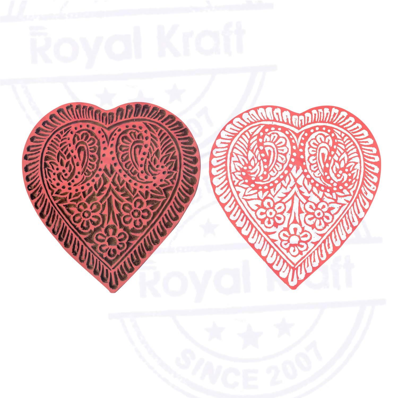 Decorative Print Block Large Heart Design Big Wood Stamp