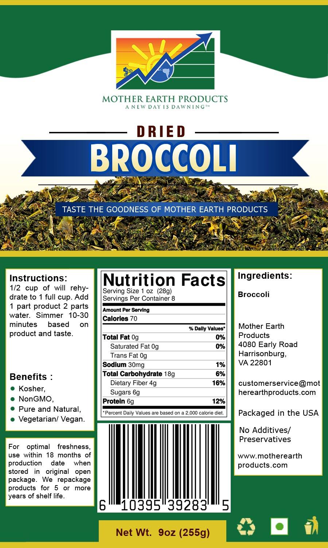 Mother Earth Products, Dehydrated Broccoli Quart Mylar, 9 Oz