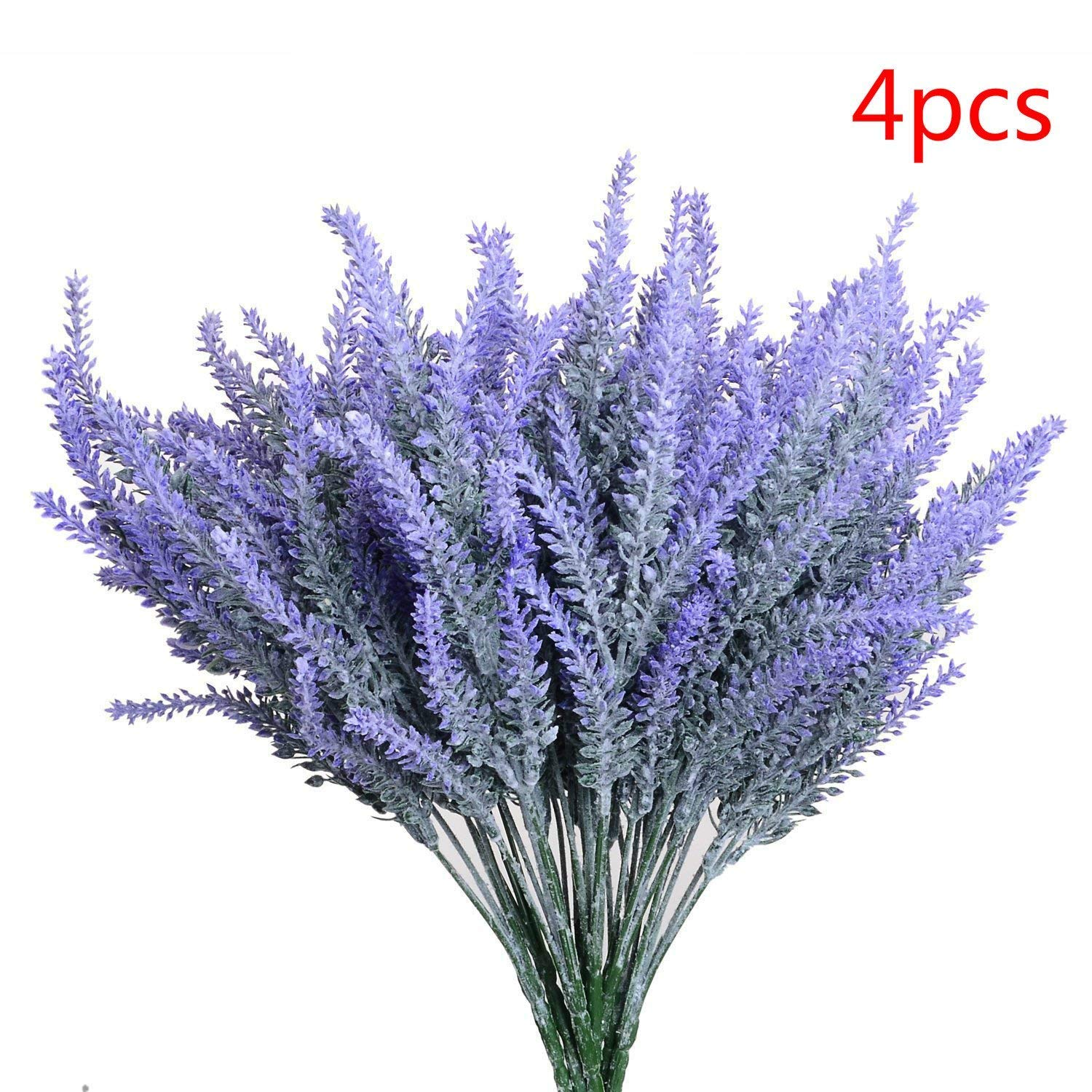 AngleLife Artificial Lavender Flowers, Lavender Bouquet in Purple Artificial Plant for Home DIY Decor, Wedding, Garden, Office Decor, 4 Bundles