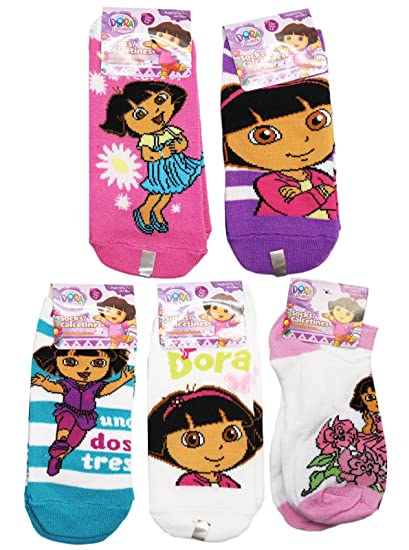 Dora the Explorer Assorted Color and Design Kids Sock Set (3 Pairs, Size 6