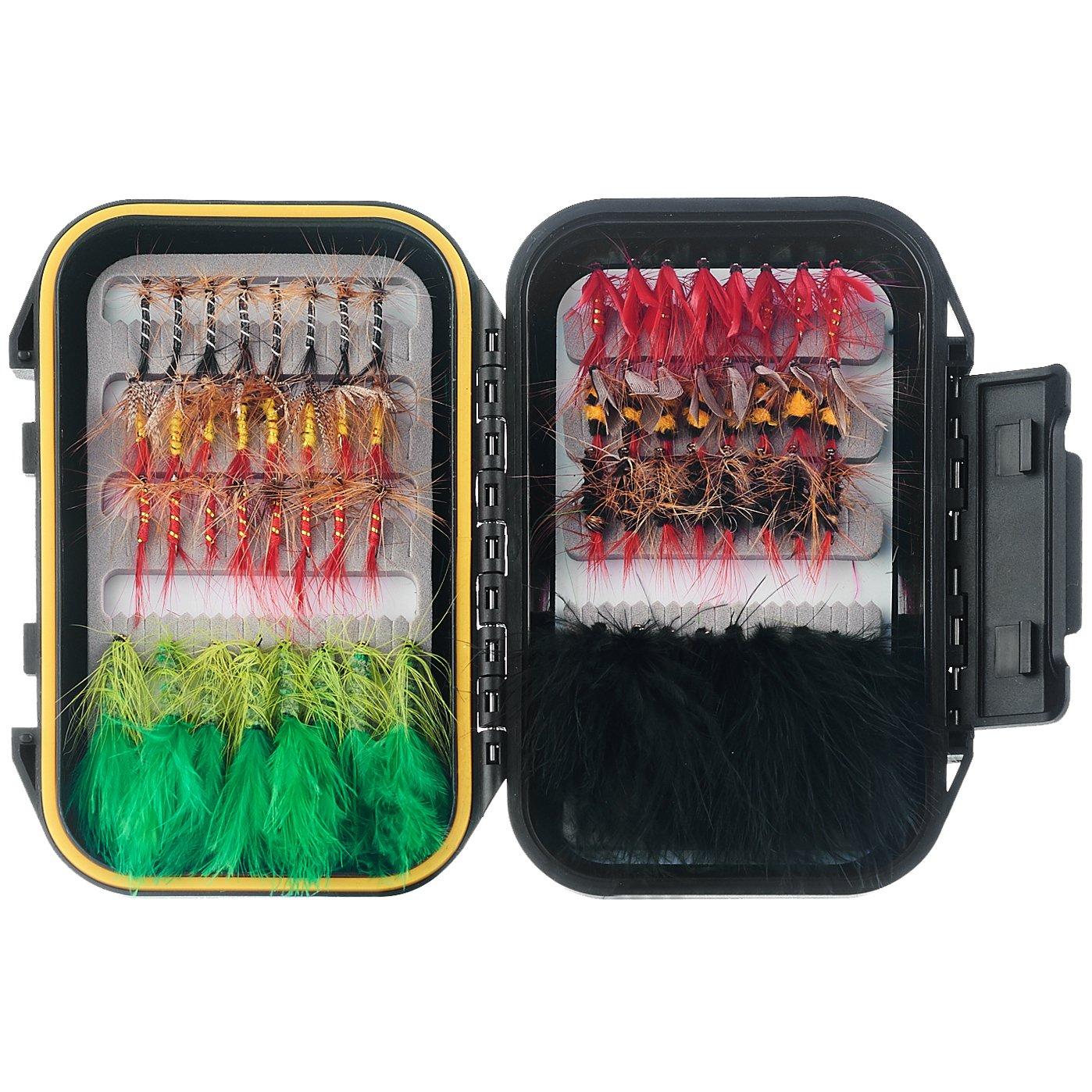 FISHINGSIR 64 PCS Fly Fishing Flies Set Included Dry Flies,Wet Flies,Streamer, Nymph, Emerger Kit with Waterproof Fly Box by FISHINGSIR