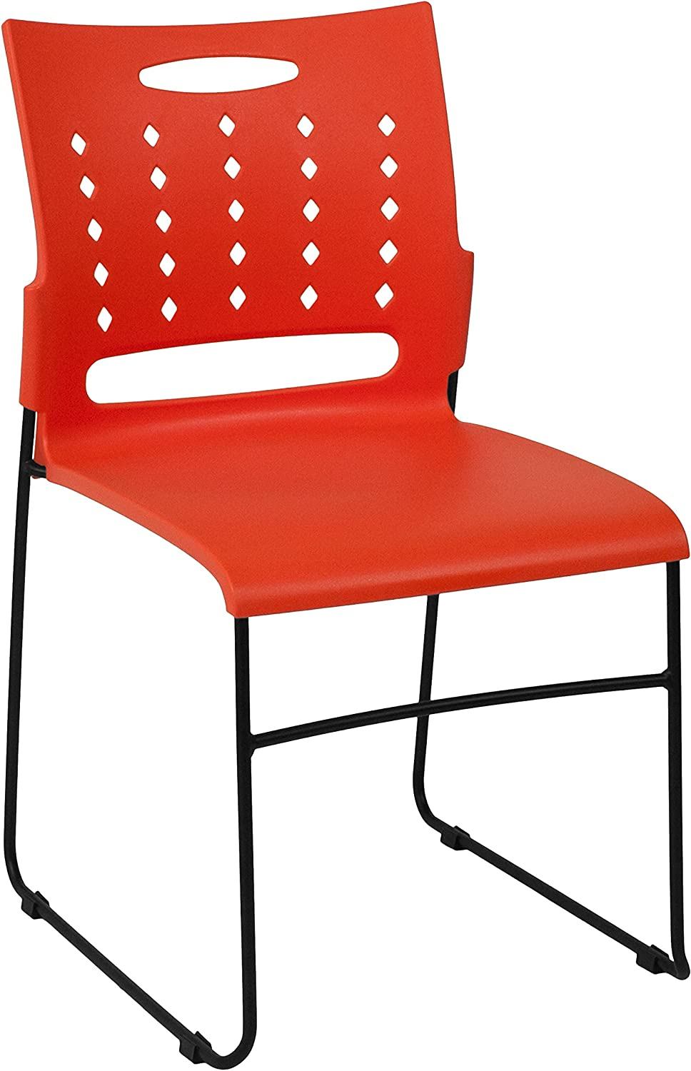 Flash Furniture HERCULES Series 881 lb. Capacity Orange Sled Base Stack Chair with Air-Vent Back