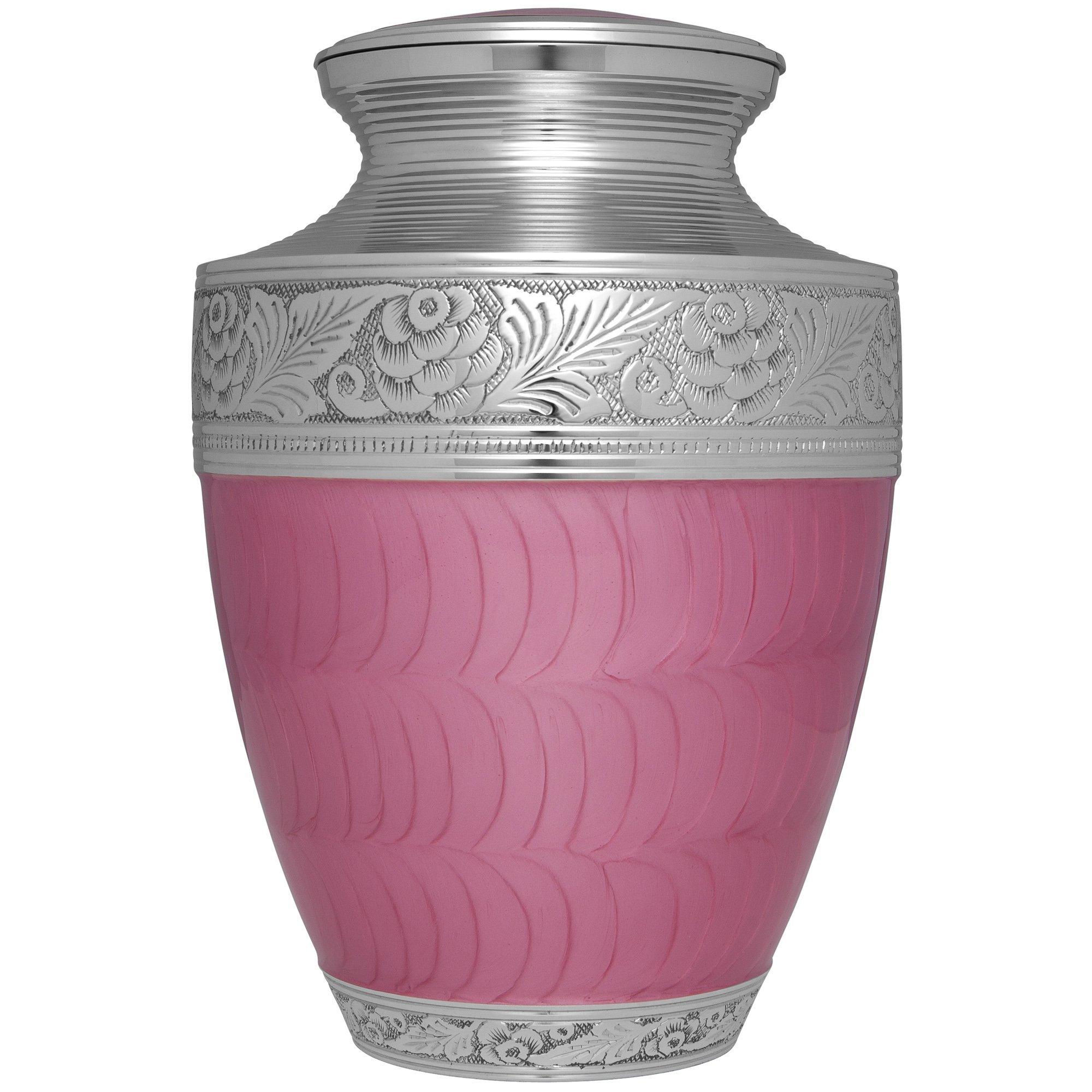 Pink Funeral Urn by Liliane Memorials - Cremation Urn for Human Ashes - Hand Made in Brass - Suitable for Cemetery Burial or Niche - Large Size fits remains of Adults up to 200 lbs- Verona Pink Model
