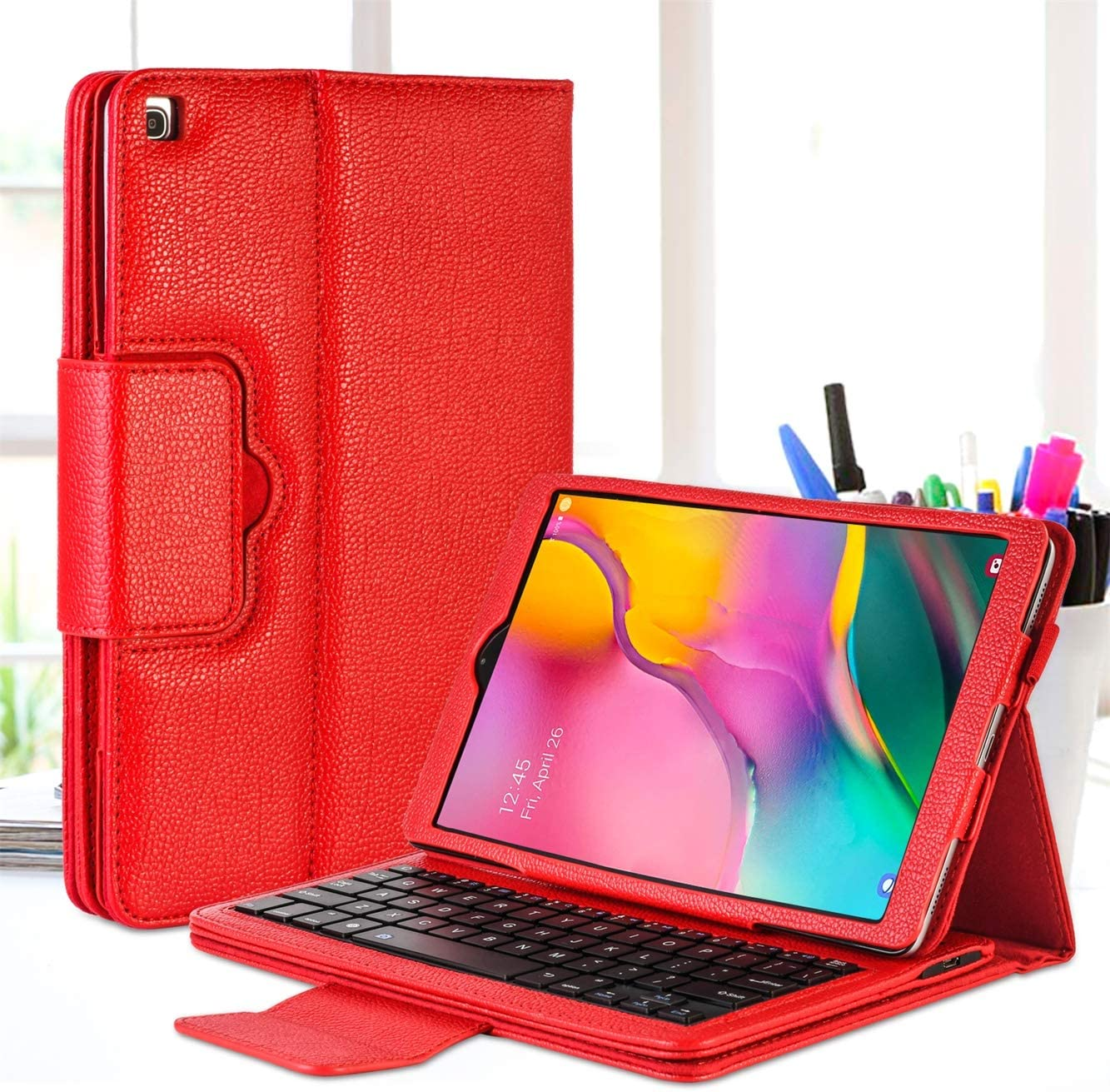 GCION Keyboard Case for Samsung Galaxy Tab A 10.1 2019 (SM-T510,SM-T515,SM-T517),Premium PU Leather Stand Cover with Detachable Wireless Bluetooth Keyboard,Red