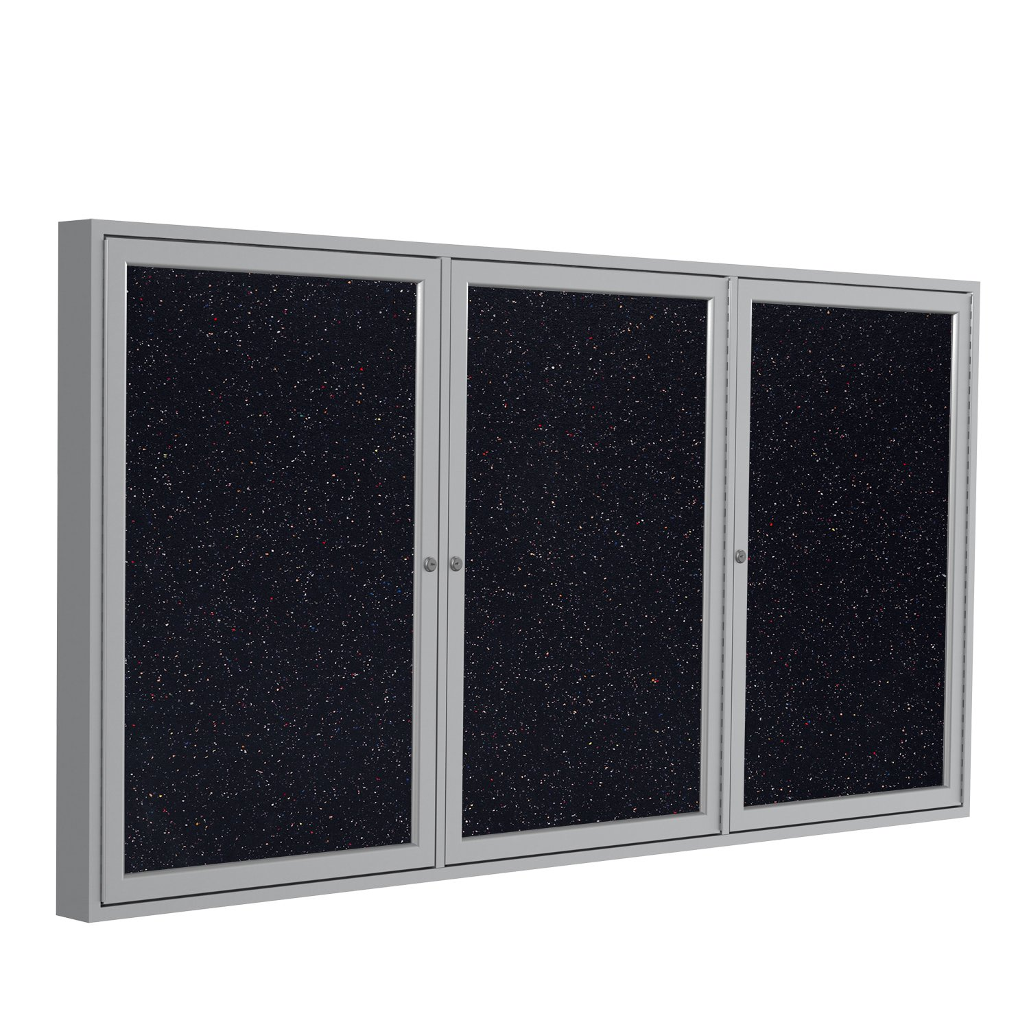 Ghent 36''x72'' 3-Door indoor Enclosed Recycled Rubber Bulletin Board, Shatter Resistant, with Lock, Satin Aluminum Frame, Confetti (PA33672TR-CF) ,Made in the USA