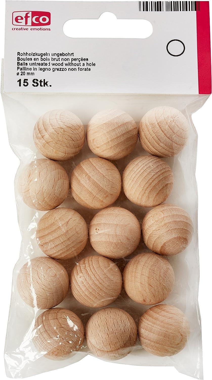 efco–Bolas de Madera sin Tratar sin Agujero de un diámetro de 20mm 15pcs, marrón