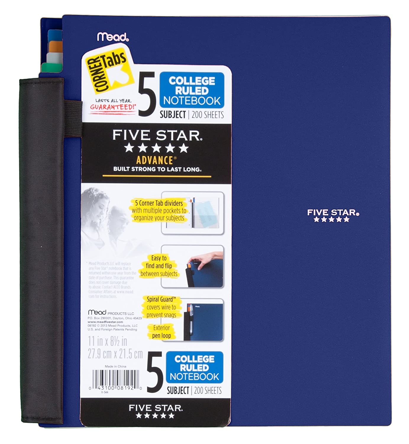 Five Star Notebook, 5-Subject, College Ruled, 200 Sheets, 8-1/2 x 11  Inches, Assorted (8192)