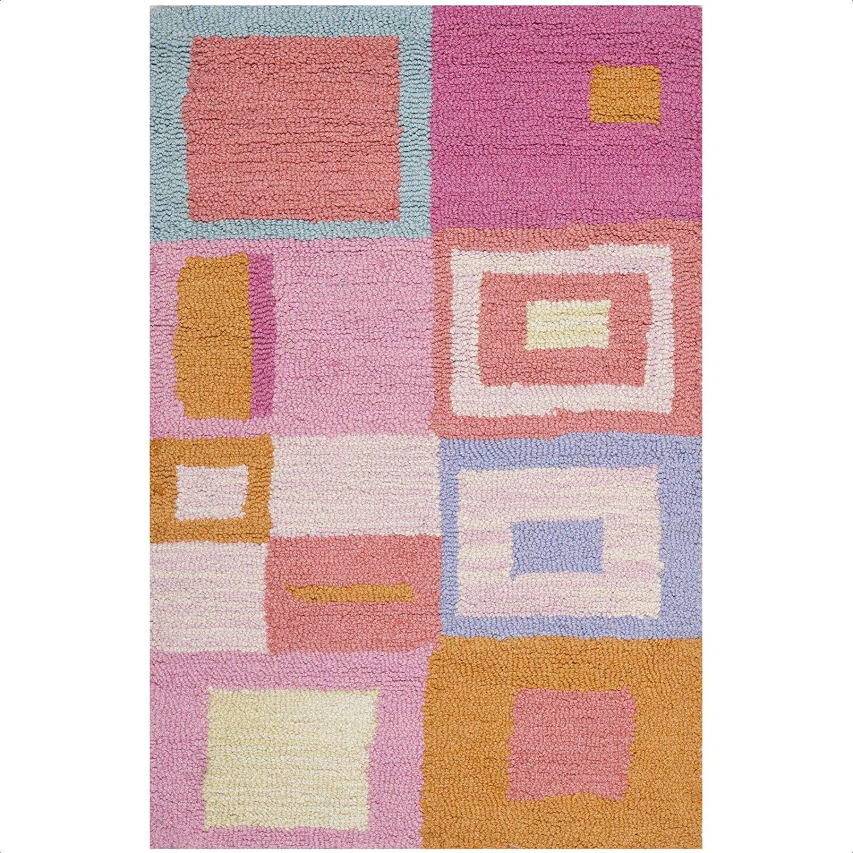 Claro Geometric Hand Tufted Wool Pink Blue Orange Area Rug Kitchen Dining