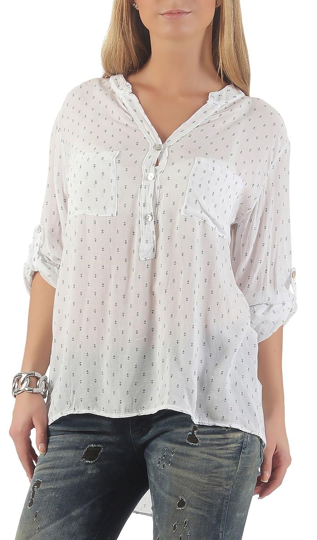 Malito dam blus med ankartryck | tunika med ärmar | blusskjorta också lång ärm bärbar | Elegant – tröja 9013 Vit