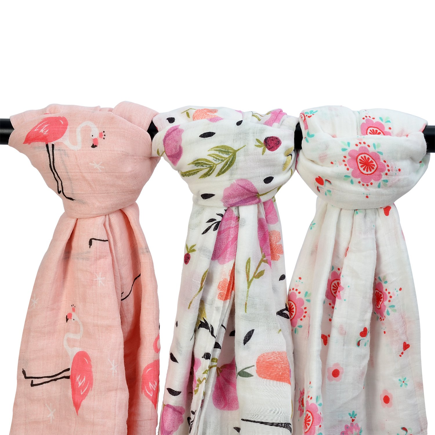 Bamboo Muslin Baby Blanket – 3 Pack 47x47inches Floral & Flamingo Print Baby Blanket Girls, Large Soft Baby Swaddle Blanket Baby Wrap Muslin Cloths, Perfect Baby Shower Gifts(Flamingo & Floral)