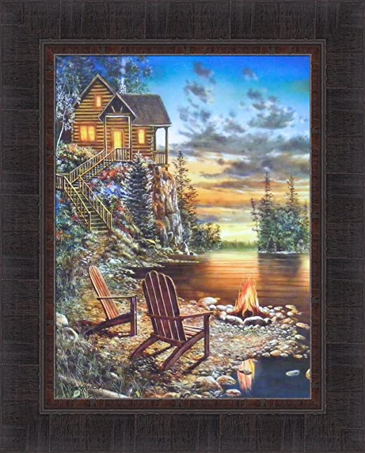 SIMPLE PLEASURES by Jim Hansel 17x21 Lake Log Cabin Boat Sunset FRAMED ART PRINT