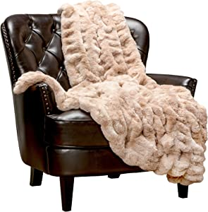 Chanasya Ruched Royal Luxurious Faux Fur Throw Blanket - Super Soft Fuzzy Warm Cozy Plush Fluffy Elegant Blanket for Sofa Chair Couch Bed with Reversible Silky Velvet Throw Blanket- 50x65- Beige