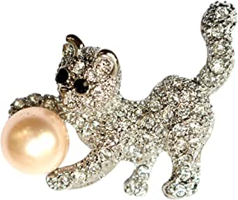 Navachi 18k Gold Plated Clear Crystal Pearl Cat Brooch Pin