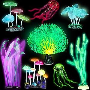 Frienda 8 Pieces Glowing Fish Tank Decorations Plants with 2 Style Glowing Kelp, Sea Anemone, Simulation Coral, Jellyfish, Lotus Leaf, Mushroom for Aquarium Fish Tank Glow Ornament