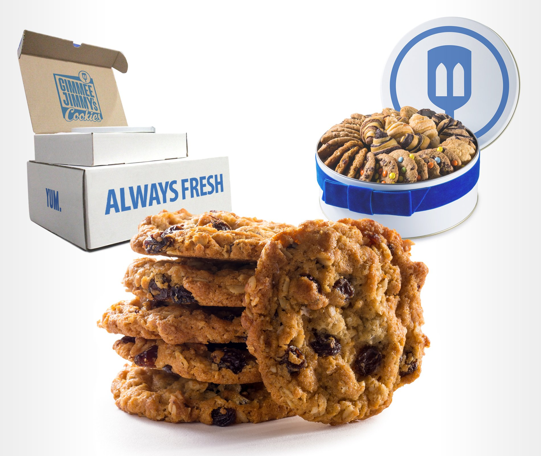 Oatmeal Raisin Cookie Gift Tin From Gimmee Jimmy's Cookies- 2lb | Send the Perfect Corporate, Sympathy, or Birthday Gift with Gimmee Jimmy's Cookies and Bakery