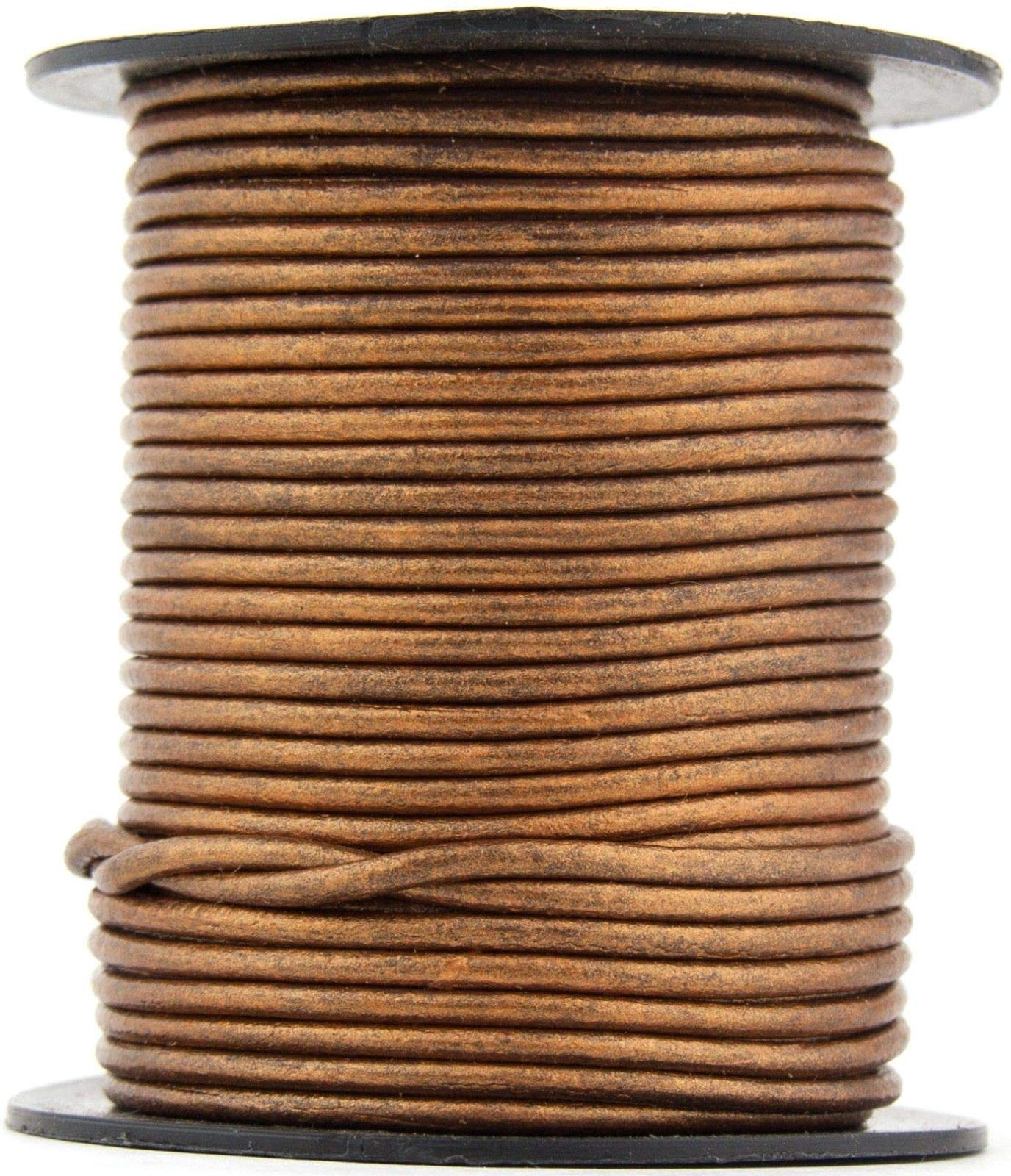 Bronze Metallic Round Leather Cord 1mm 100 Meters (109 Yards)