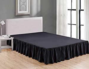 Sheets & Beyond Wrap Around Solid Luxury Hotel Quality Fabric Bedroom Dust Ruffle Wrinkle and Fade Resistant Gathered Bed Skirt 14 Inch Drop (Queen, Black)