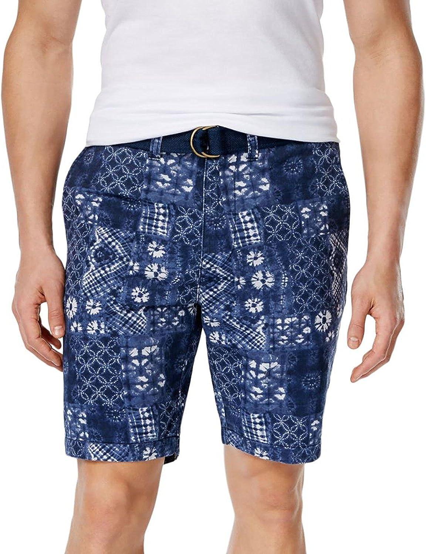 American Rag Mens Patchwork Slim Fit Belted Shorts Blue 32