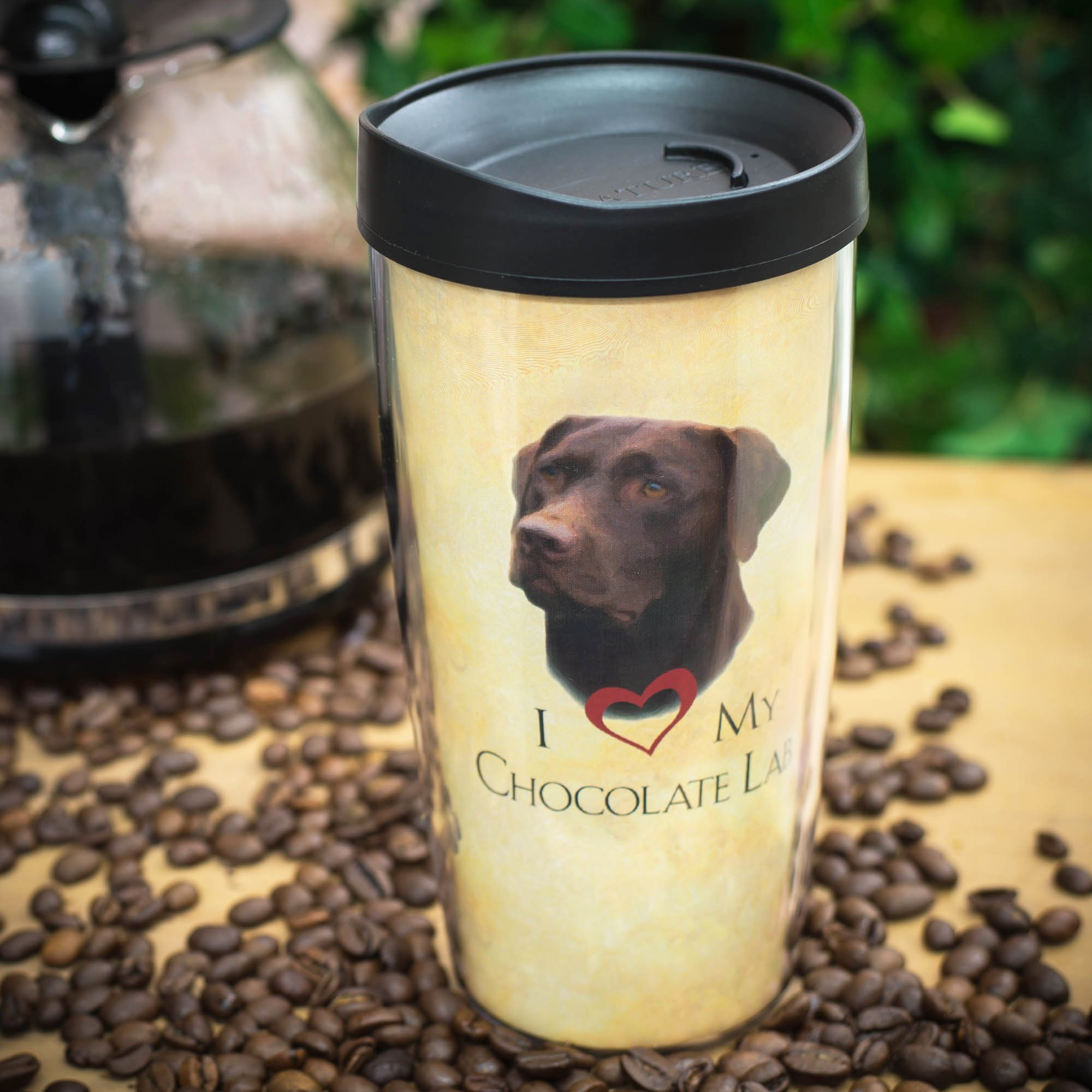 I Love My Chocolate Lab Dog Paws 16 Oz Tumbler Mug with Lid by Signature Tumblers (Image #2)
