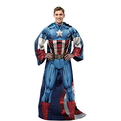"Marvel's Captain America, ""First Avenger"" Adult Comfy Throw Blanket with Sleeves, 48"" x 71"", Multi Color: Home & Kitchen"