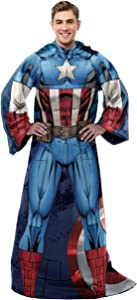 """Marvel's Captain America, """"First Avenger"""" Adult Comfy Throw Blanket with Sleeves, 48"""" x 71"""", Multi Color"""