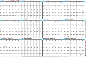"JJH Planners - Laminated - 24"" X 36"" Large 2020 Erasable Wall Calendar - Horizontal 12 Month Yearly Annual Planner (20h-24x36)"
