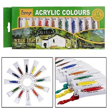 2e53ef26961c Bianyo Artist Quality Acrylic Color Tubes Paint Set - 12Ml Tubes