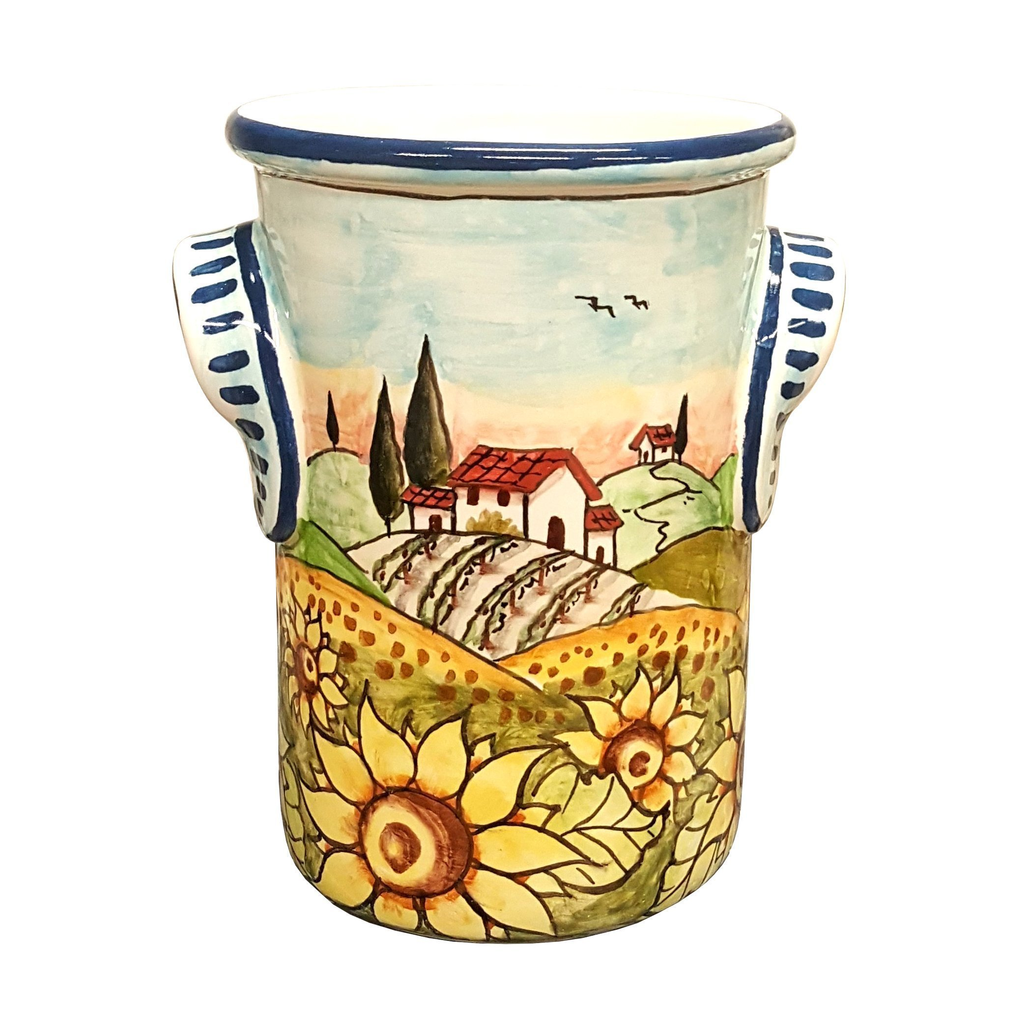 CERAMICHE D'ARTE PARRINI- Italian Ceramic Utensil Holder Vessel Hand Painted Made in ITALY Decorated Landscape Sunflowers Tuscan Art Pottery by CERAMICHE D'ARTE PARRINI since 1979
