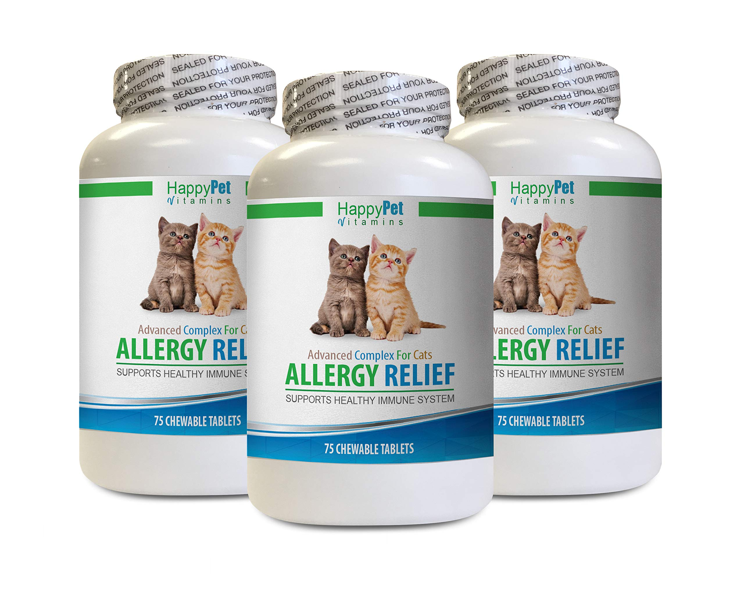 cat Anti Itch Vitamins - CAT Allergy Relief - Supports Immune System - Vet Recommended - Itch Relief - cat Skin Allergy Treatment - 3 Bottles (225 Chew Tablets) by HAPPY PET VITAMINS LLC