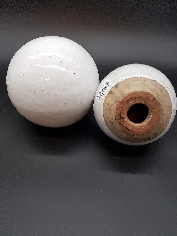 Teramico Dekokugel Gartenkugel Wei/ß glasiert sehr hochwertig frostfest und witterungsbest/ändig 16cm