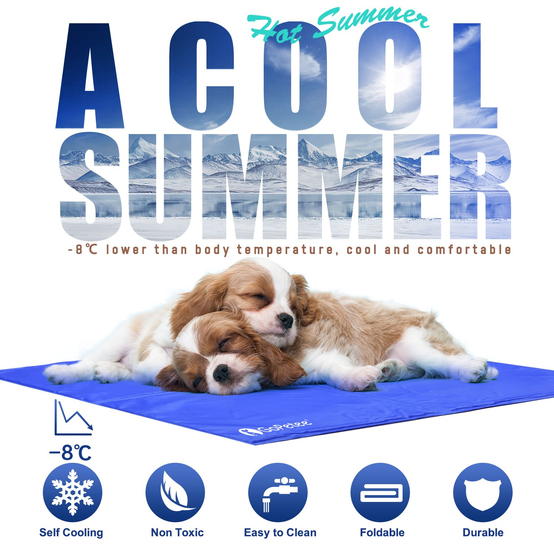 GoPetee Alfombrilla de Refrigeración para Mascotas Cama de Perro y Gato para Verano Animales Manta de Dormir Fresco Cojín Azul (M 50 * 65cm) (M 65 x 50 cm, ...