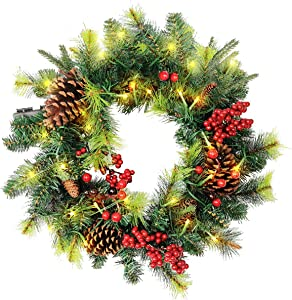 Christmas Wreath for Front Door 18 Inch,Christmas Home Decor, Large Garland with red Berries, Pine Cones and 50 Warm White LED Lights (Battery Powered|Timing Setting)