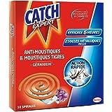 Catch Insecticide en spirale pour l'intérieur et l'extérieure - Action rapide - Parfum Géranium