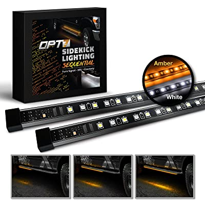 "OPT7 2pc 48"" Side Kick Running Board LED Strips w/SEQUENTIAL Amber Turn Signal, DRL, and white Courtesy Light: Automotive"